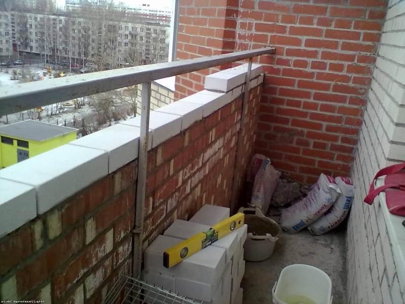 Кладка из пеноблоков, кирпича усиление балкона..