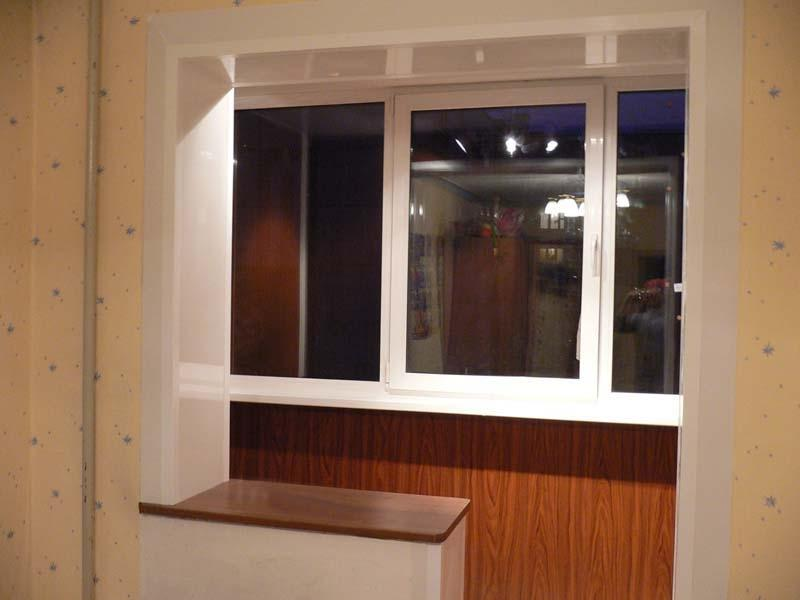 Дизайн соеденения балкона с кухней. - купить стекло, двери и.