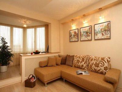 Объединение балкона с комнатой, гостиная, совмещенная с балконом. Объединение балкона под ключ, фото и цены. Современные решения перепланировки.